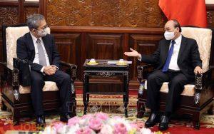 Chủ tịch nước Nguyễn Xuân Phúc tiếp Đại sứ Nhật Bản tại Việt Nam Yamada Takio